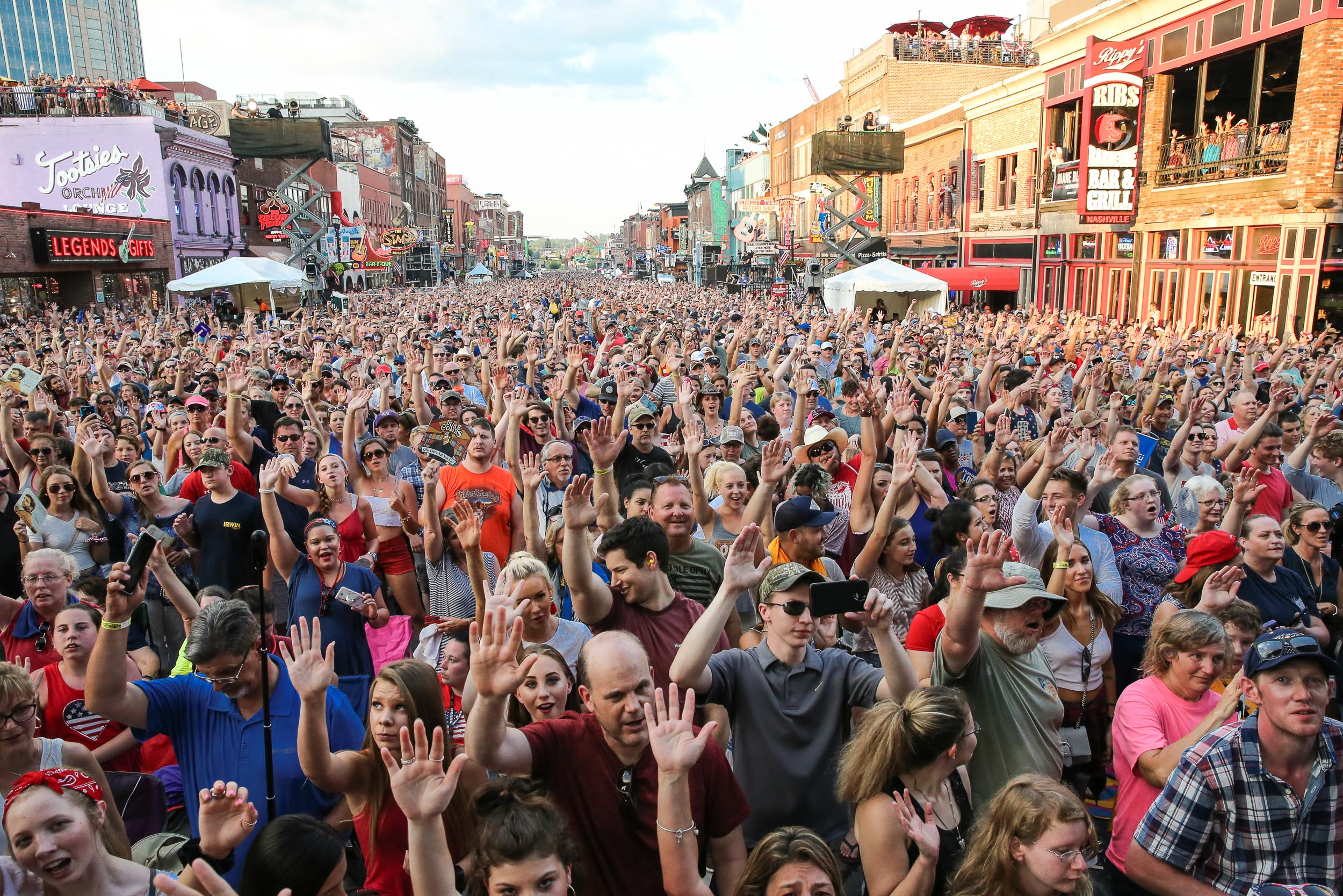 Crowd on Broadway Nashville